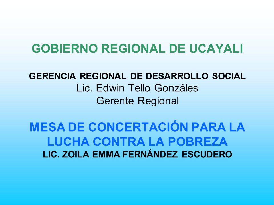 GOBIERNO REGIONAL DE UCAYALI GERENCIA REGIONAL DE DESARROLLO SOCIAL Lic.