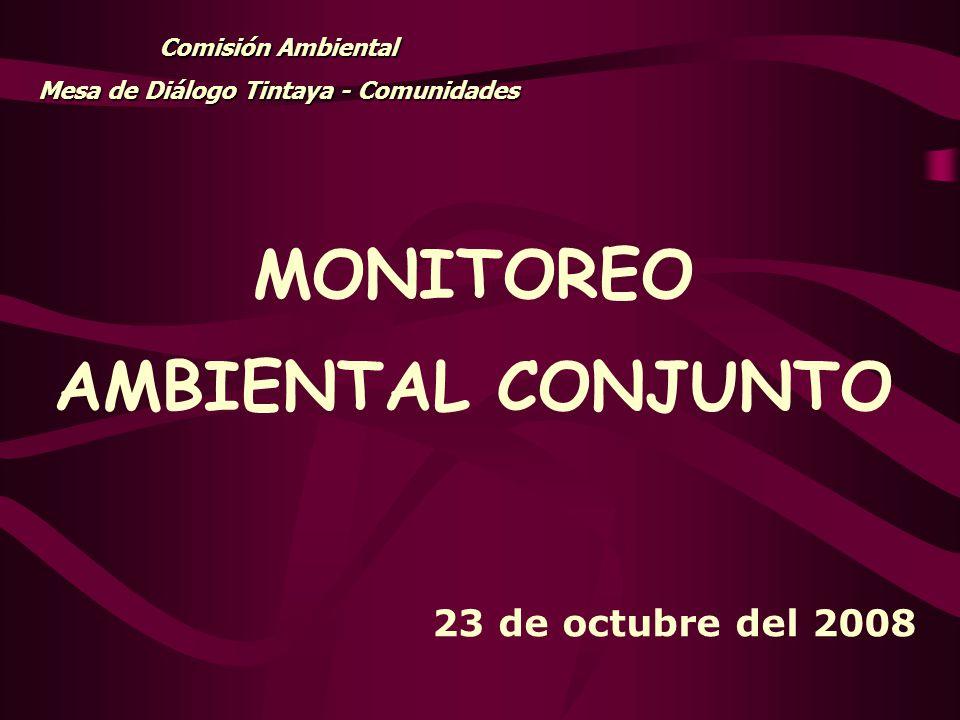 MONITOREO AMBIENTAL CONJUNTO Comisión Ambiental Mesa de Diálogo Tintaya - Comunidades 23 de octubre del 2008