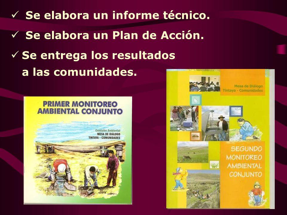 Se elabora un informe técnico. Se elabora un Plan de Acción. Se entrega los resultados a las comunidades.