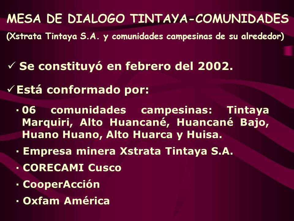 Se constituyó en febrero del 2002. Está conformado por: ·06 comunidades campesinas: Tintaya Marquiri, Alto Huancané, Huancané Bajo, Huano Huano, Alto