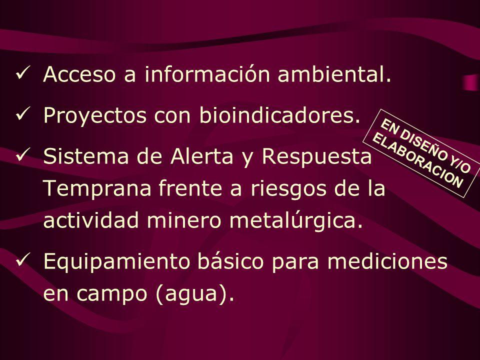 Acceso a información ambiental. Proyectos con bioindicadores. Sistema de Alerta y Respuesta Temprana frente a riesgos de la actividad minero metalúrgi