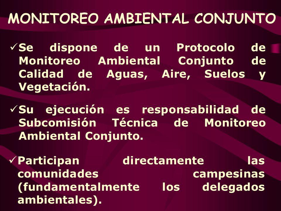 MONITOREO AMBIENTAL CONJUNTO Se dispone de un Protocolo de Monitoreo Ambiental Conjunto de Calidad de Aguas, Aire, Suelos y Vegetación. Participan dir