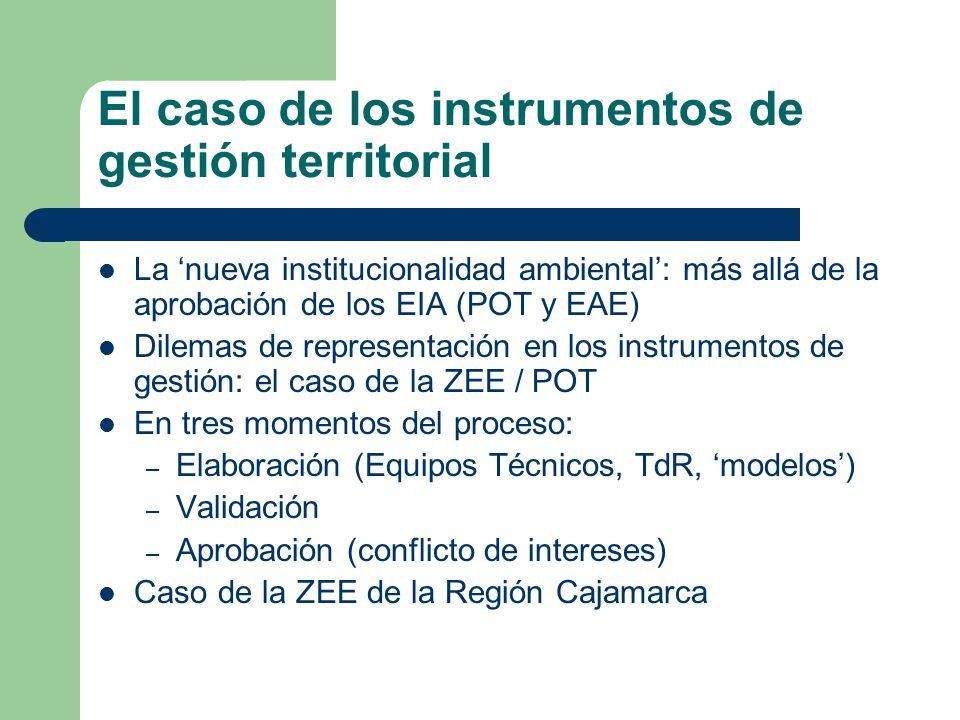 El caso de los instrumentos de gestión territorial La nueva institucionalidad ambiental: más allá de la aprobación de los EIA (POT y EAE) Dilemas de r