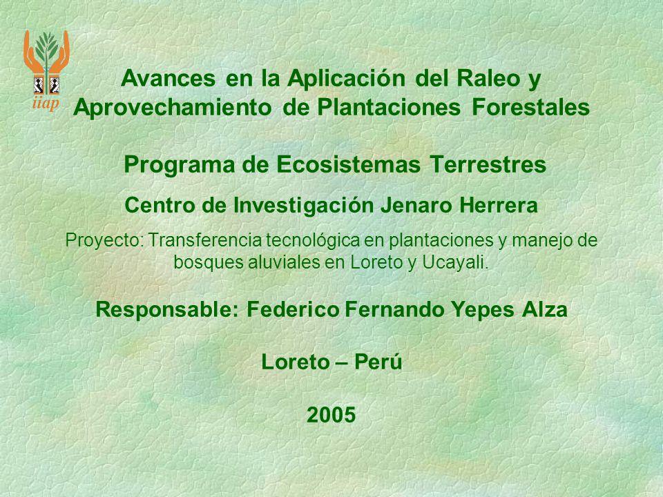 Avances en la Aplicación del Raleo y Aprovechamiento de Plantaciones Forestales Programa de Ecosistemas Terrestres Centro de Investigación Jenaro Herr