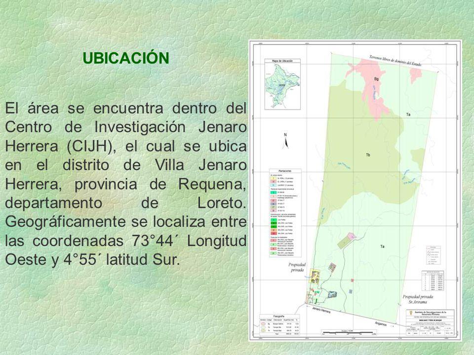 UBICACIÓN El área se encuentra dentro del Centro de Investigación Jenaro Herrera (CIJH), el cual se ubica en el distrito de Villa Jenaro Herrera, prov