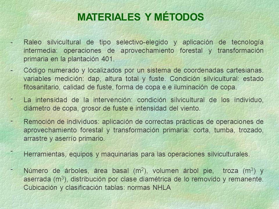 MATERIALES Y MÉTODOS - Raleo silvicultural de tipo selectivo-elegido y aplicación de tecnología intermedia: operaciones de aprovechamiento forestal y