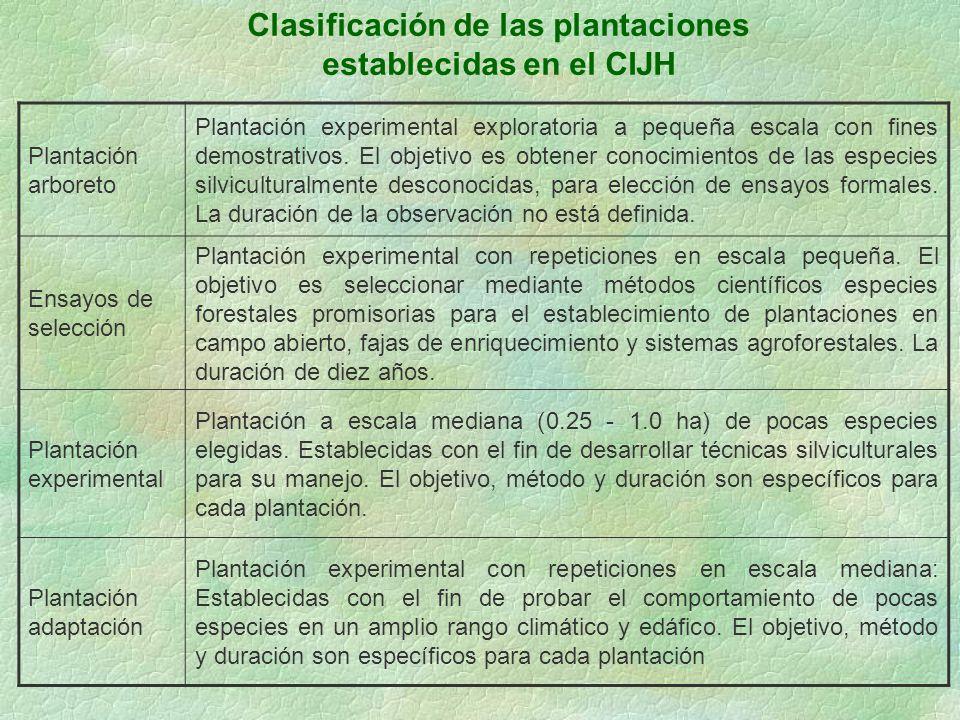 Clasificación de las plantaciones establecidas en el CIJH Plantación arboreto Plantación experimental exploratoria a pequeña escala con fines demostra