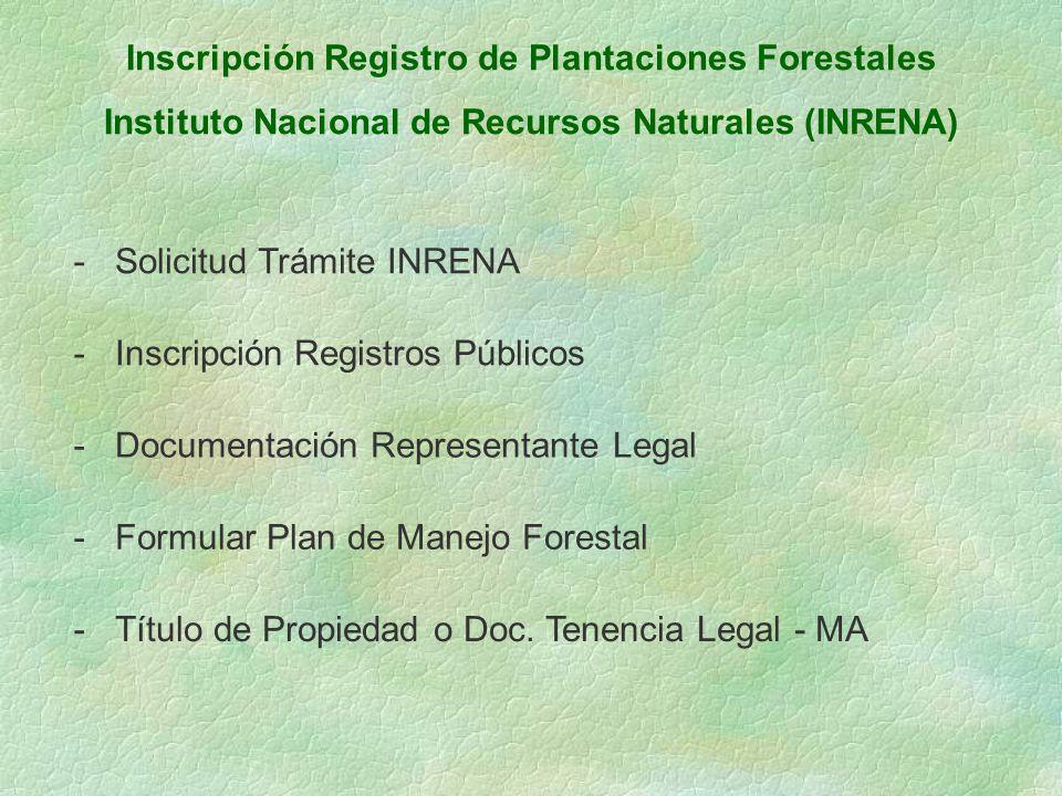 Inscripción Registro de Plantaciones Forestales Instituto Nacional de Recursos Naturales (INRENA) -Solicitud Trámite INRENA -Inscripción Registros Púb