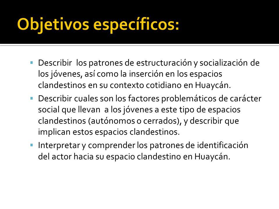 Describir los patrones de estructuración y socialización de los jóvenes, así como la inserción en los espacios clandestinos en su contexto cotidiano en Huaycán.