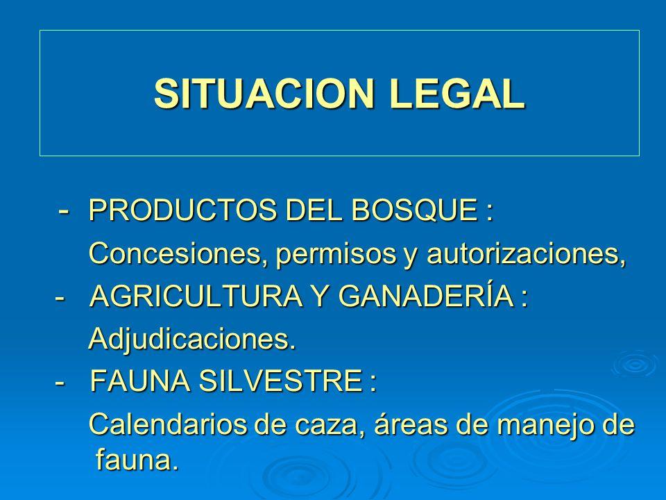 SITUACION LEGAL - PRODUCTOS DEL BOSQUE : - PRODUCTOS DEL BOSQUE : Concesiones, permisos y autorizaciones, Concesiones, permisos y autorizaciones, - AG