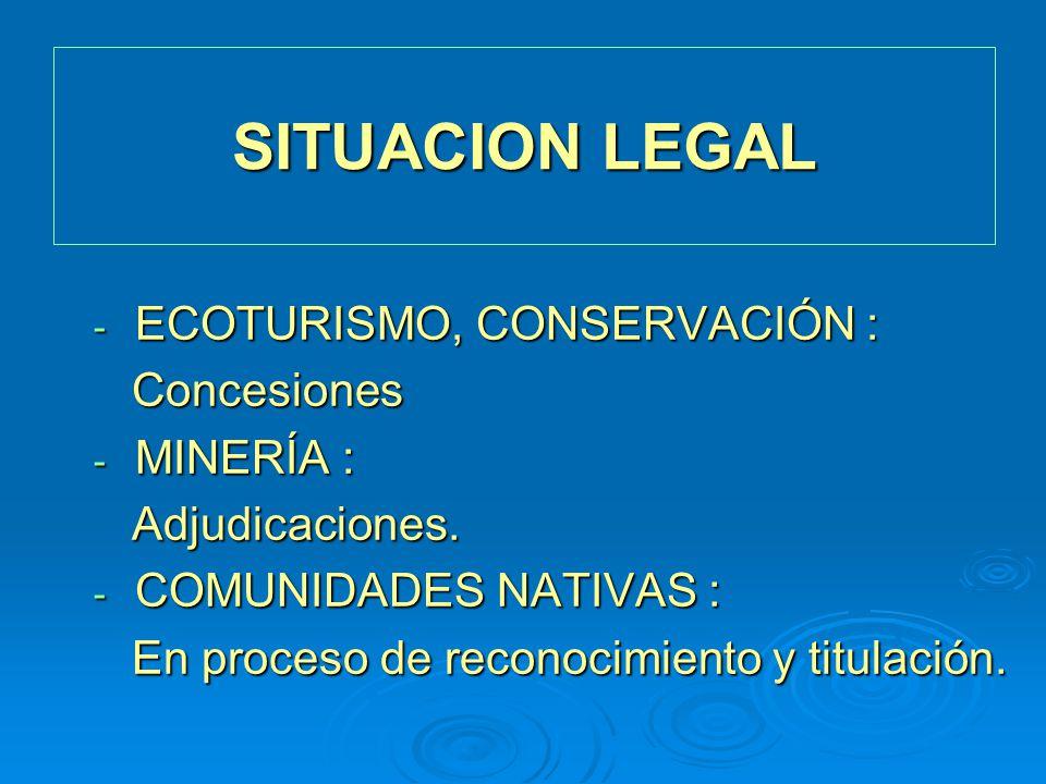 SITUACION LEGAL - ECOTURISMO, CONSERVACIÓN : Concesiones Concesiones - MINERÍA : Adjudicaciones. Adjudicaciones. - COMUNIDADES NATIVAS : En proceso de