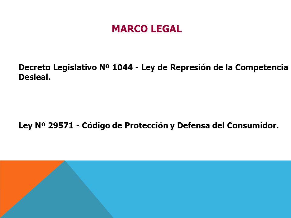 Decreto Legislativo Nº 1044 - Ley de Represión de la Competencia Desleal. Ley Nº 29571 - Código de Protección y Defensa del Consumidor. MARCO LEGAL