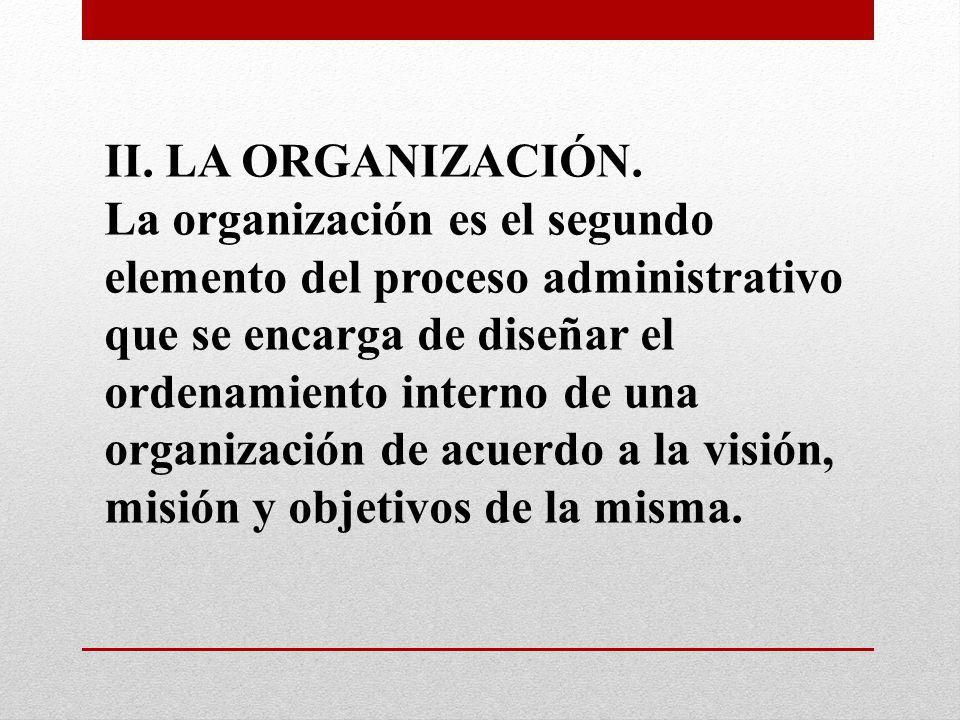 II. LA ORGANIZACIÓN. La organización es el segundo elemento del proceso administrativo que se encarga de diseñar el ordenamiento interno de una organi