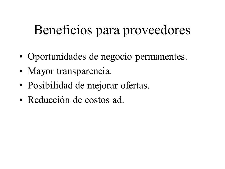 Beneficios para proveedores Oportunidades de negocio permanentes.