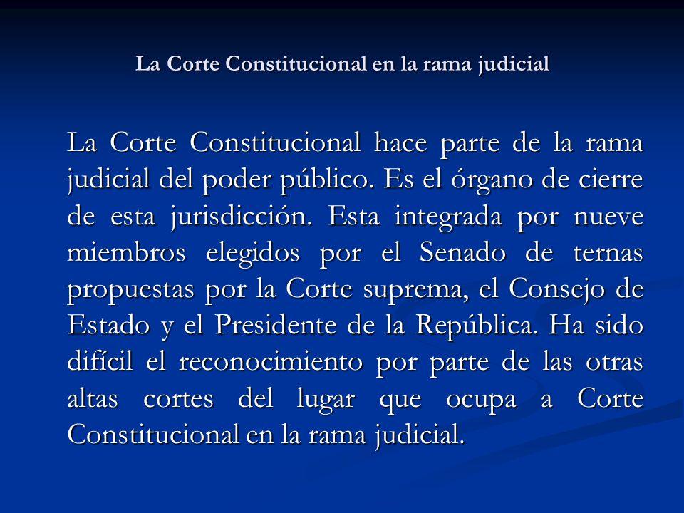 La Corte Constitucional en la rama judicial La Corte Constitucional hace parte de la rama judicial del poder público.