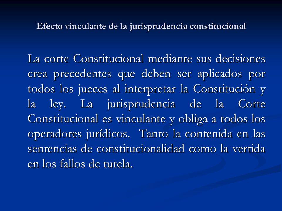 Efecto vinculante de la jurisprudencia constitucional La corte Constitucional mediante sus decisiones crea precedentes que deben ser aplicados por todos los jueces al interpretar la Constitución y la ley.