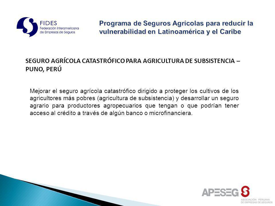 SEGURO AGRÍCOLA CATASTRÓFICO PARA AGRICULTURA DE SUBSISTENCIA – PUNO, PERÚ Mejorar el seguro agrícola catastrófico dirigido a proteger los cultivos de