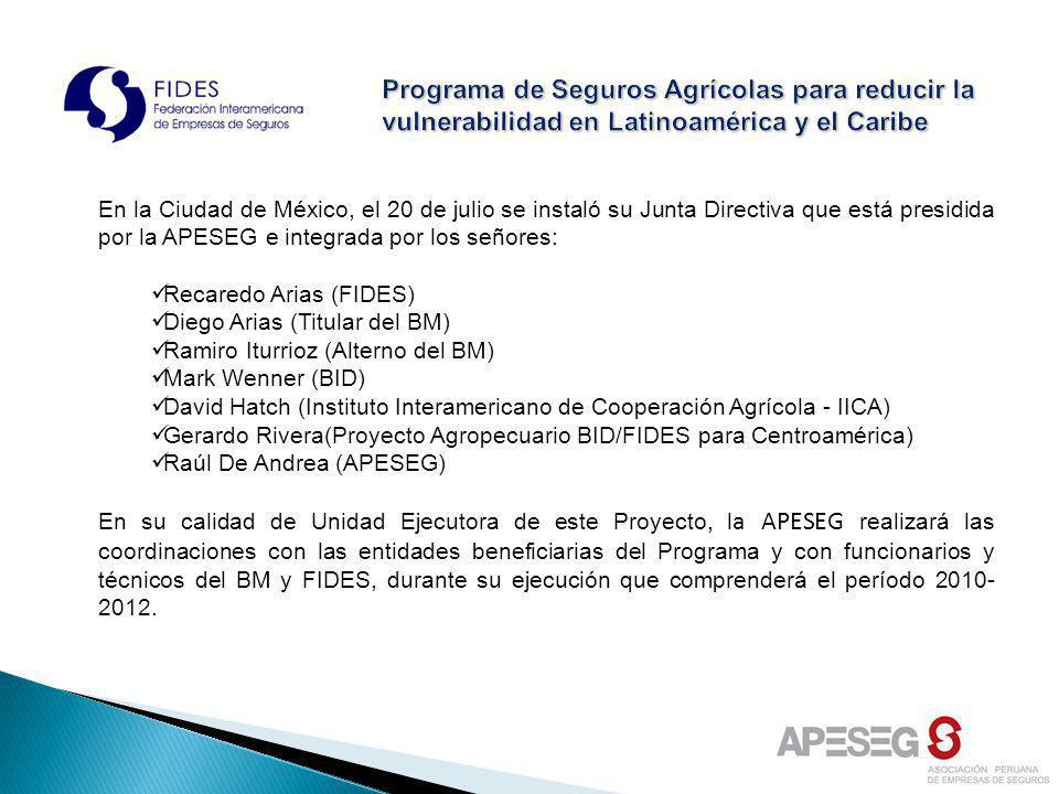 En la Ciudad de México, el 20 de julio se instaló su Junta Directiva que está presidida por la APESEG e integrada por los señores: Recaredo Arias (FID