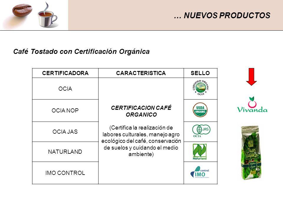 CERTIFICADORACARACTERISTICA SELLO OCIA CERTIFICACION CAFÉ ORGANICO (Certifica la realización de labores culturales, manejo agro ecológico del café, co