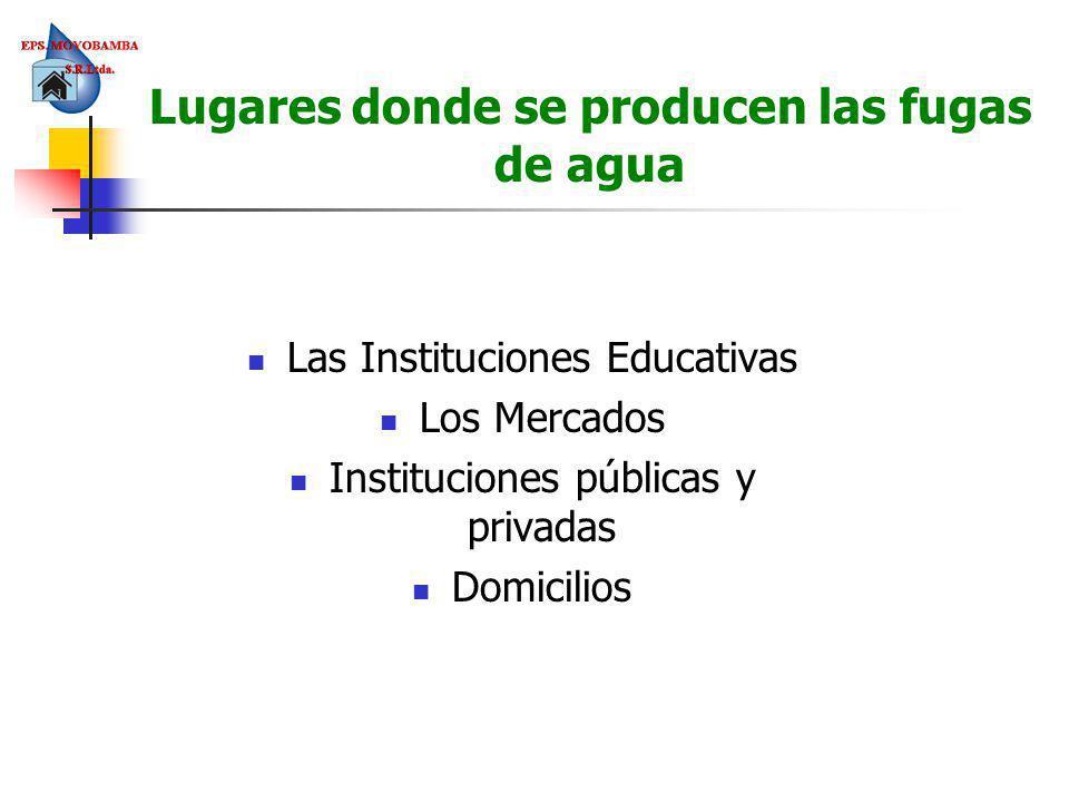 Lugares donde se producen las fugas de agua Las Instituciones Educativas Los Mercados Instituciones públicas y privadas Domicilios