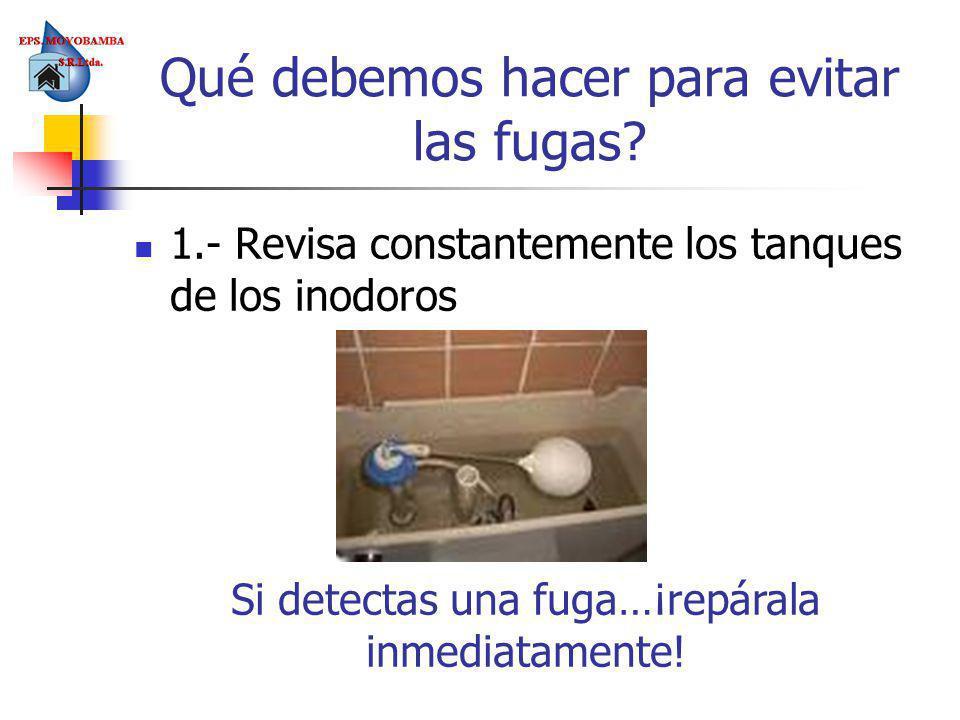 Qué debemos hacer para evitar las fugas? 1.- Revisa constantemente los tanques de los inodoros Si detectas una fuga…¡repárala inmediatamente!