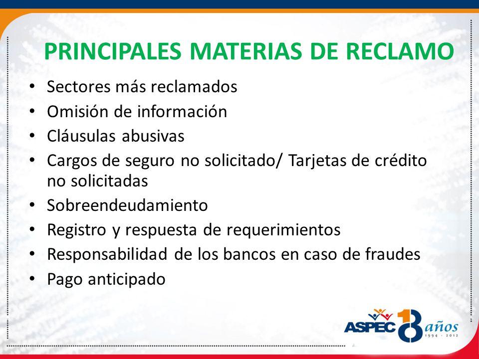 PRINCIPALES MATERIAS DE RECLAMO Sectores más reclamados Omisión de información Cláusulas abusivas Cargos de seguro no solicitado/ Tarjetas de crédito no solicitadas Sobreendeudamiento Registro y respuesta de requerimientos Responsabilidad de los bancos en caso de fraudes Pago anticipado