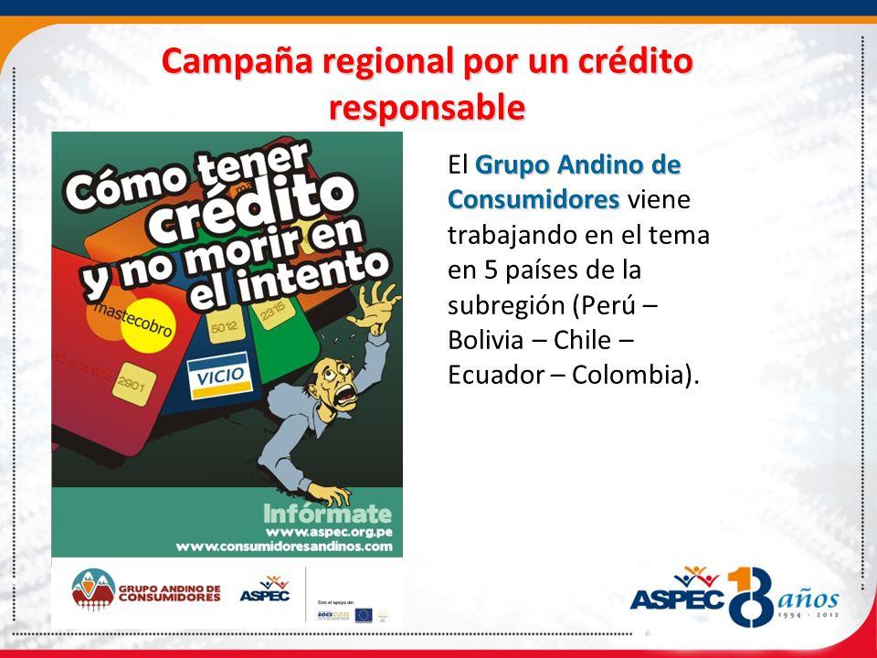 Campaña regional por un crédito responsable Grupo Andino de Consumidores El Grupo Andino de Consumidores viene trabajando en el tema en 5 países de la subregión (Perú – Bolivia – Chile – Ecuador – Colombia).