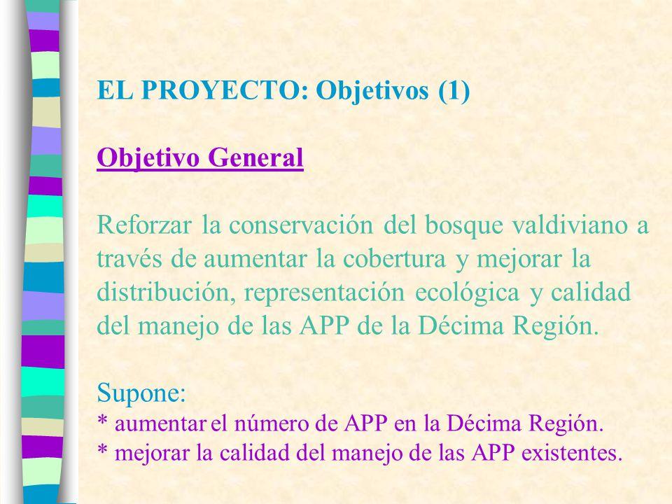 EL PROYECTO: Objetivos (1) Objetivo General Reforzar la conservación del bosque valdiviano a través de aumentar la cobertura y mejorar la distribución, representación ecológica y calidad del manejo de las APP de la Décima Región.