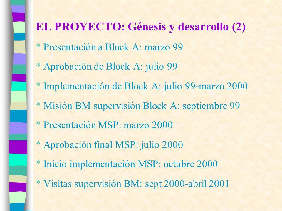 EL PROYECTO: Génesis y desarrollo (2) * Presentación a Block A: marzo 99 * Aprobación de Block A: julio 99 * Implementación de Block A: julio 99-marzo 2000 * Misión BM supervisión Block A: septiembre 99 * Presentación MSP: marzo 2000 * Aprobación final MSP: julio 2000 * Inicio implementación MSP: octubre 2000 * Visitas supervisión BM: sept 2000-abril 2001