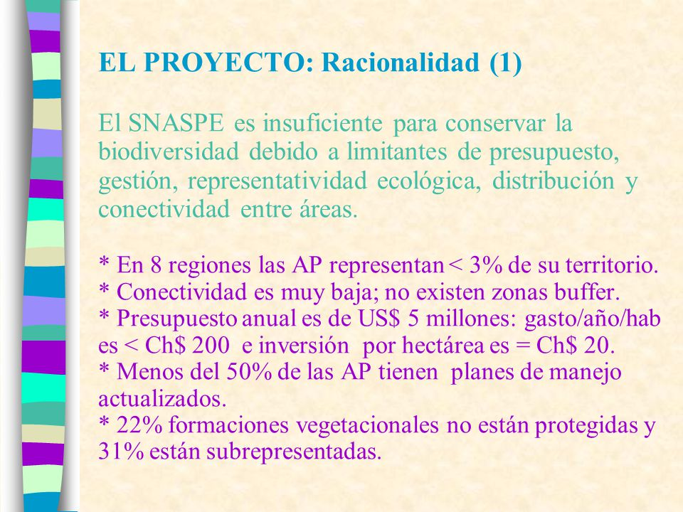 EL PROYECTO: Racionalidad (1) El SNASPE es insuficiente para conservar la biodiversidad debido a limitantes de presupuesto, gestión, representatividad ecológica, distribución y conectividad entre áreas.