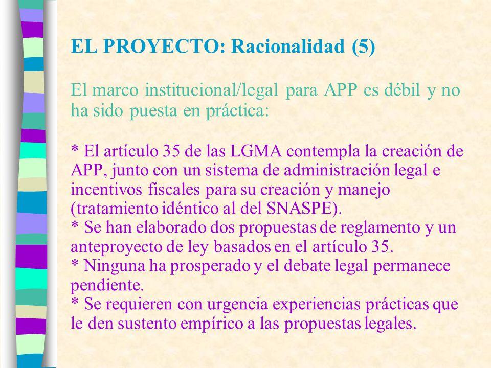 EL PROYECTO: Racionalidad (5) Por tanto es urgente: * capacitar y asistir técnicamente a los gestores de APP, * probar incentivos para la creación y manejo de APP, * aplicar mecanismos de certificación de APP, * generar modelos de gestión ecológica y económica de APP, y * avanzar en el diseño de una institucionalidad para APP, con un enfoque de cooperación con el SNASPE.