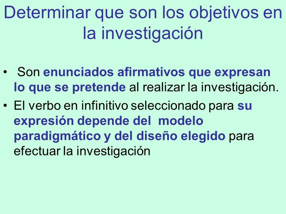 FORMULACION DE OBJETIVOS DE LA INVESTIGACIÓN