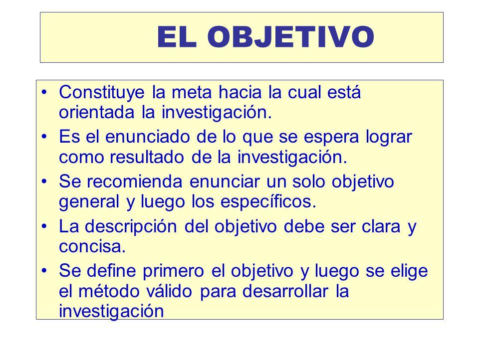 Los objetivos, mantienen la direccionalidad al estudio * PUEDEN SER: * Objetivos generales Enunciar uno solo (recomendable) * Objetivos específicos En