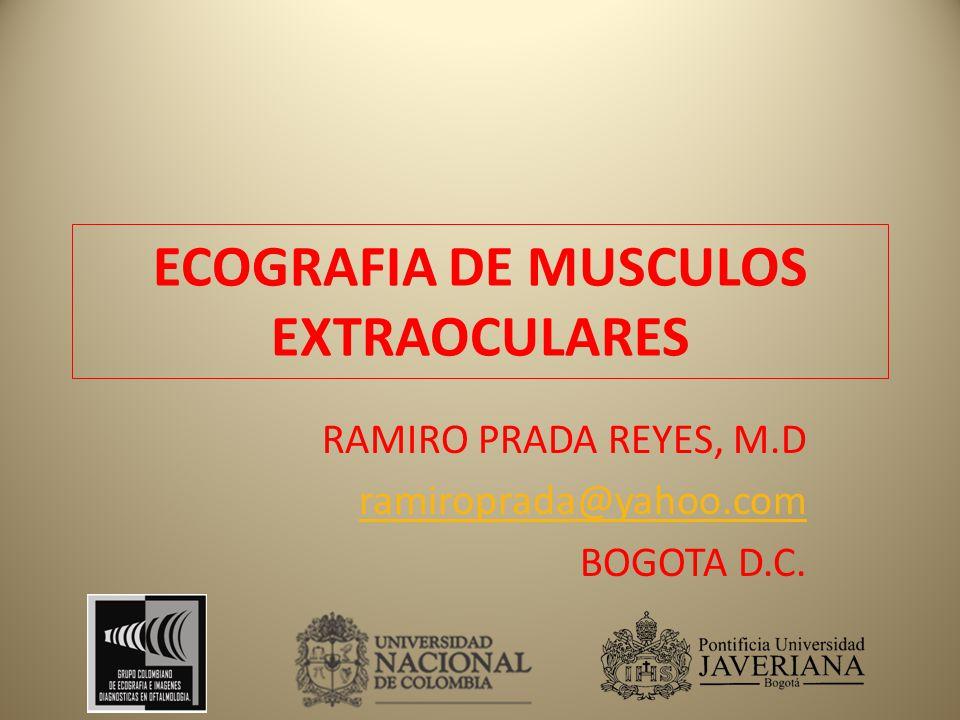 ECOGRAFIA DE MUSCULOS EXTRAOCULARES RAMIRO PRADA REYES, M.D ramiroprada@yahoo.com BOGOTA D.C.
