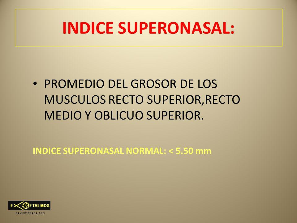 INDICE SUPERONASAL: PROMEDIO DEL GROSOR DE LOS MUSCULOS RECTO SUPERIOR,RECTO MEDIO Y OBLICUO SUPERIOR. INDICE SUPERONASAL NORMAL: < 5.50 mm RAMIRO PRA