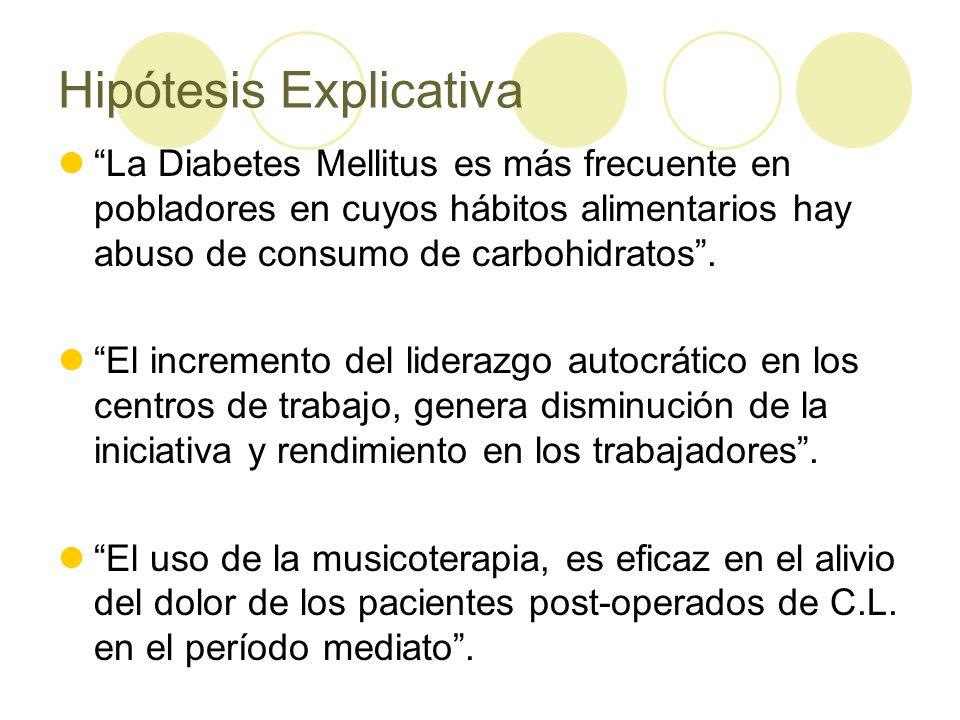 Hipótesis Explicativa La Diabetes Mellitus es más frecuente en pobladores en cuyos hábitos alimentarios hay abuso de consumo de carbohidratos.