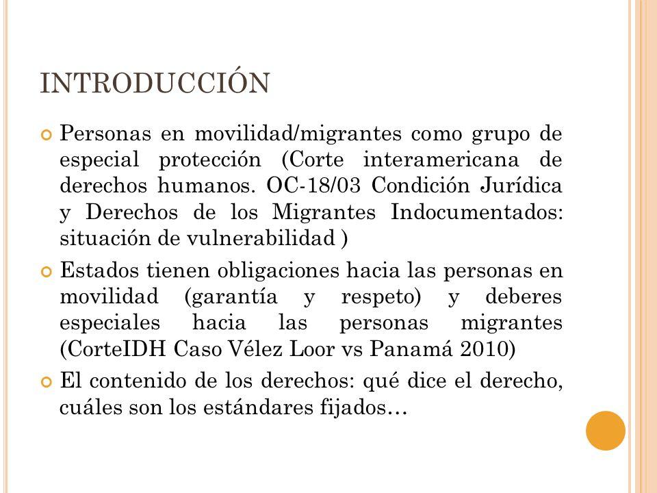 INTRODUCCIÓN Personas en movilidad/migrantes como grupo de especial protección (Corte interamericana de derechos humanos. OC-18/03 Condición Jurídica