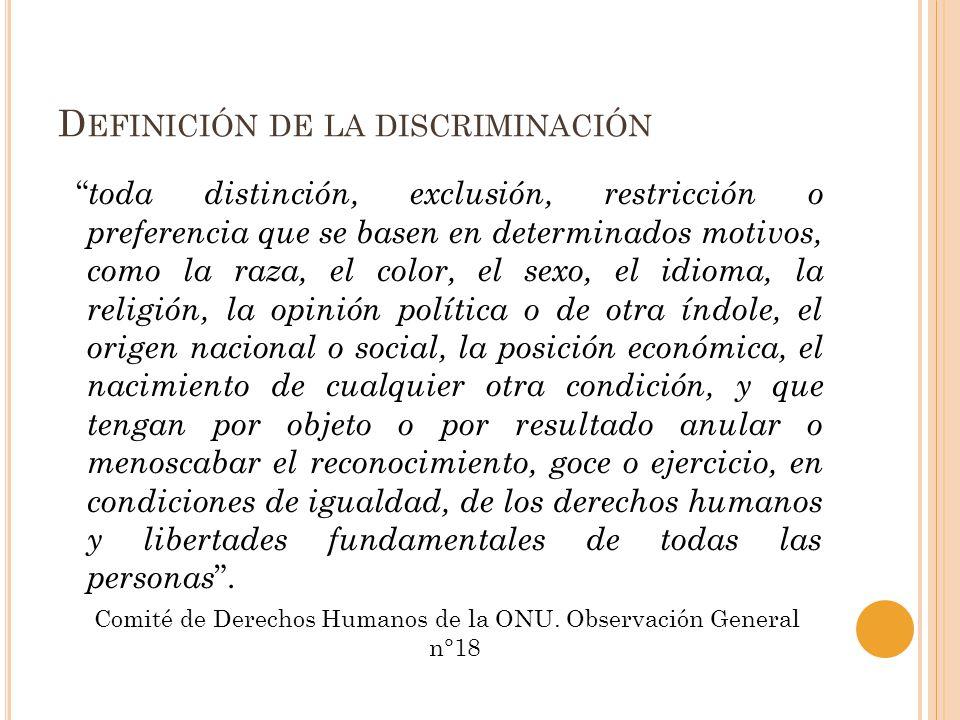 D EFINICIÓN DE LA DISCRIMINACIÓN toda distinción, exclusión, restricción o preferencia que se basen en determinados motivos, como la raza, el color, e