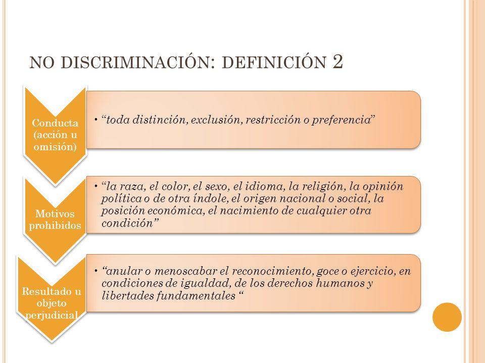 NO DISCRIMINACIÓN : DEFINICIÓN 2 Conducta (acción u omisión) toda distinción, exclusión, restricción o preferencia Motivos prohibidos la raza, el colo