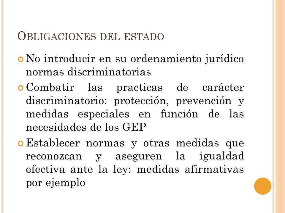 O BLIGACIONES DEL ESTADO No introducir en su ordenamiento jurídico normas discriminatorias Combatir las practicas de carácter discriminatorio: protecc