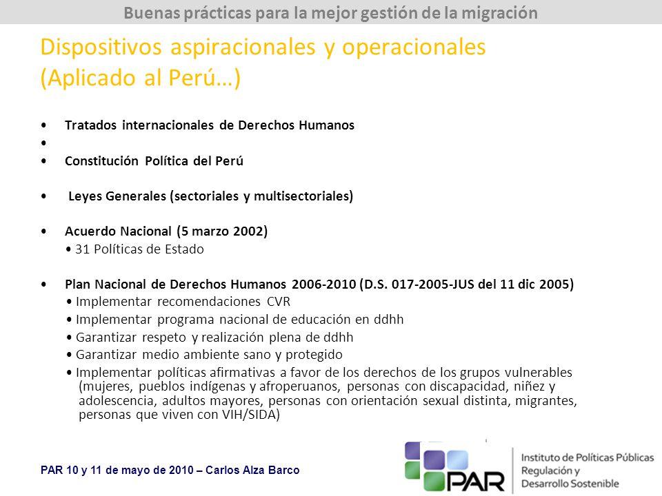 PAR 10 y 11 de mayo de 2010 – Carlos Alza Barco Buenas prácticas para la mejor gestión de la migración Dispositivos aspiracionales y operacionales (Aplicado al Perú…) Tratados internacionales de Derechos Humanos Constitución Política del Perú Leyes Generales (sectoriales y multisectoriales) Acuerdo Nacional (5 marzo 2002) 31 Políticas de Estado Plan Nacional de Derechos Humanos 2006-2010 (D.S.