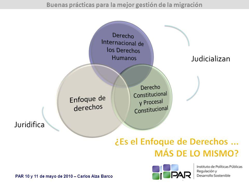 PAR 10 y 11 de mayo de 2010 – Carlos Alza Barco Buenas prácticas para la mejor gestión de la migración Judicializan Juridifica