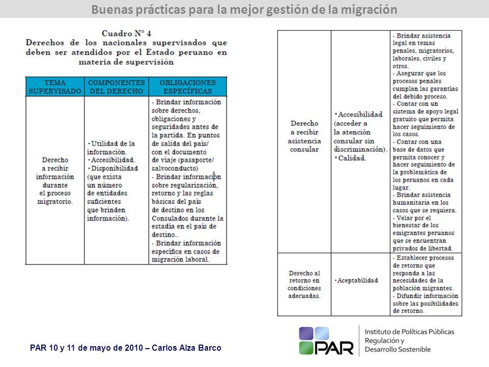 PAR 10 y 11 de mayo de 2010 – Carlos Alza Barco Buenas prácticas para la mejor gestión de la migración