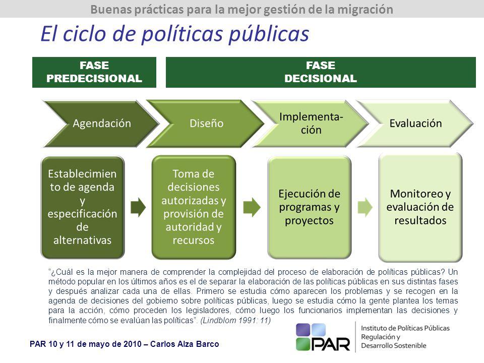 PAR 10 y 11 de mayo de 2010 – Carlos Alza Barco Buenas prácticas para la mejor gestión de la migración El ciclo de políticas públicas FASE PREDECISIONAL FASE DECISIONAL ¿Cuál es la mejor manera de comprender la complejidad del proceso de elaboración de políticas públicas.
