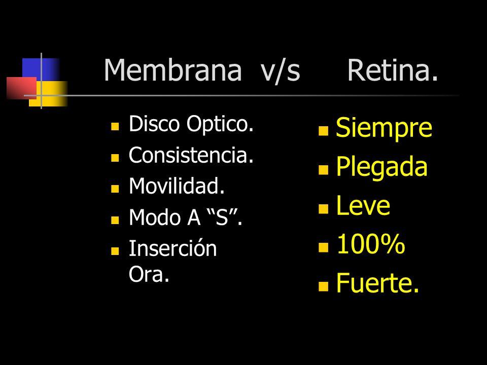 Membrana v/s Retina. Disco Optico. Consistencia. Movilidad. Modo A S. Inserción Ora. Siempre Plegada Leve 100% Fuerte.