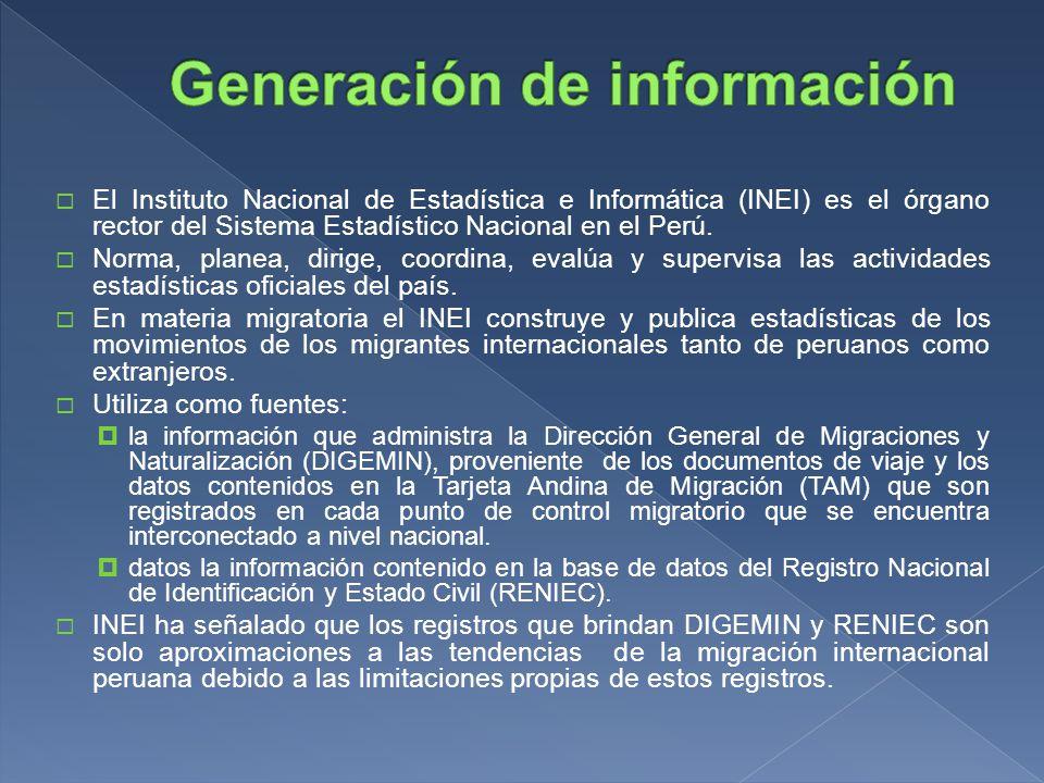 El Instituto Nacional de Estadística e Informática (INEI) es el órgano rector del Sistema Estadístico Nacional en el Perú.