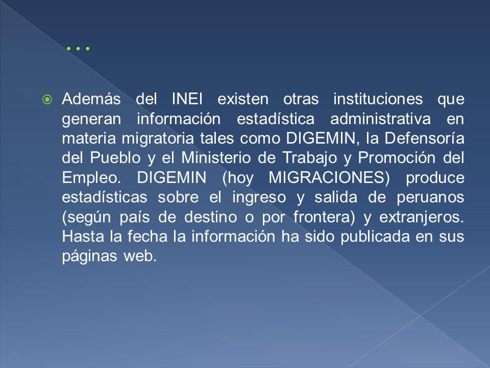 Además del INEI existen otras instituciones que generan información estadística administrativa en materia migratoria tales como DIGEMIN, la Defensoría del Pueblo y el Ministerio de Trabajo y Promoción del Empleo.