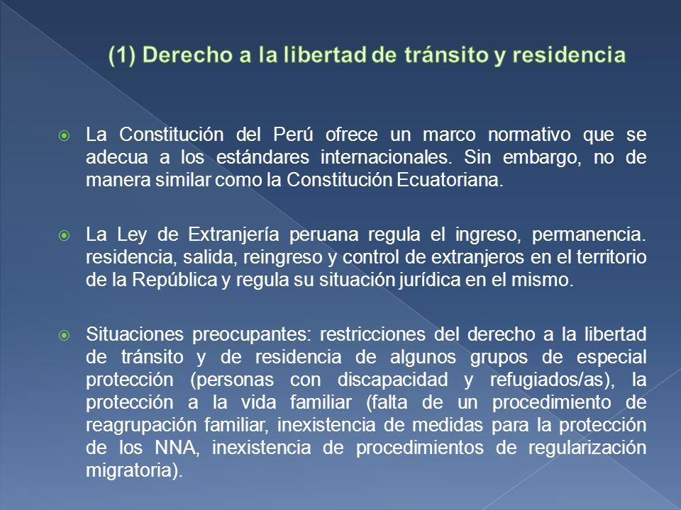 La Constitución del Perú ofrece un marco normativo que se adecua a los estándares internacionales.