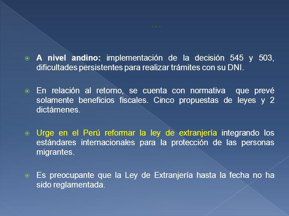 A nivel andino: implementación de la decisión 545 y 503, dificultades persistentes para realizar trámites con su DNI.