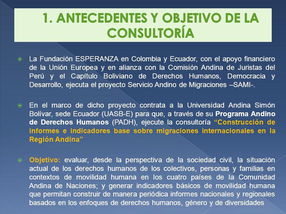 La Fundación ESPERANZA en Colombia y Ecuador, con el apoyo financiero de la Unión Europea y en alianza con la Comisión Andina de Juristas del Perú y el Capítulo Boliviano de Derechos Humanos, Democracia y Desarrollo, ejecuta el proyecto Servicio Andino de Migraciones –SAMI-.
